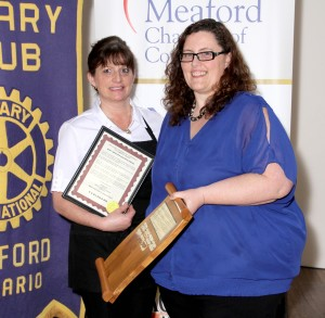 Nancy Ellis accepting the award for Most Improved Business of the Year on behalf of Elaine Macleod of  E & R's Bulk Bin- Sponsored by BrokerLink Insurance