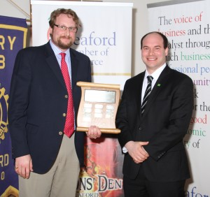James McIntosh accepting the Agribusiness Award for The Duxbury Cider Co. Ltd- Sponsored by TD Canada Trust, presented by Glen Manjin